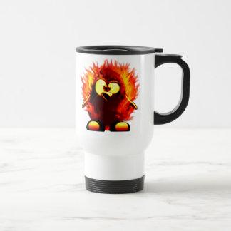 Flaming Tux (Penguin Torch) 15 Oz Stainless Steel Travel Mug