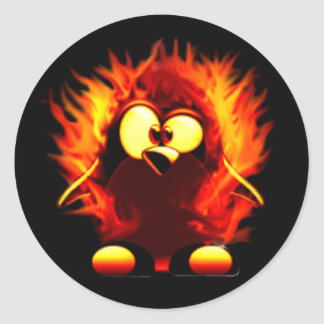 Flaming Tux (Penguin Torch) Classic Round Sticker