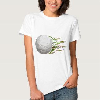 Flaming Volleyball Net Jump Bump Set Spike T Shirt