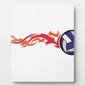 Flaming Volleyball Plaque
