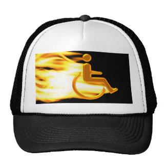 Flaming Wheel Chair Trucker Hat