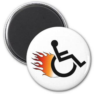Flaming Wheelchair 2 Inch Round Magnet