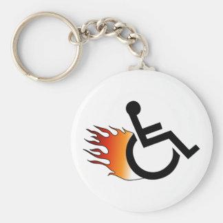 Flaming Wheelchair Basic Round Button Keychain