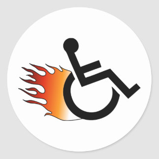 flaming wheelchair classic round sticker