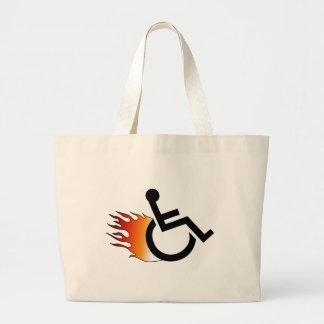Flaming Wheelchair Large Tote Bag