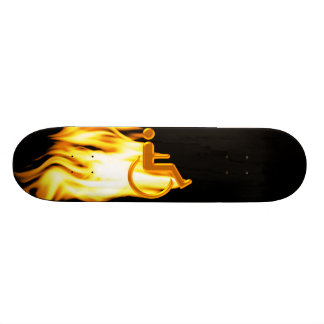 Flaming Wheelchair Man Skateboard Deck