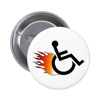 Flaming Wheelchair Pinback Button