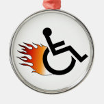 Flaming Wheelchair Round Metal Christmas Ornament