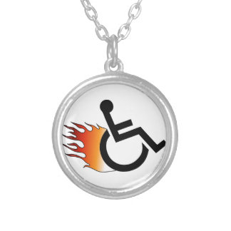Flaming Wheelchair Round Pendant Necklace