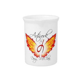 Flaming wing logo pitcher