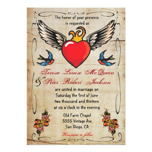 Flaming Winged Heart Tattoo Wedding Invitations 5 Quot X 7 Quot Invitation Card Zazzle