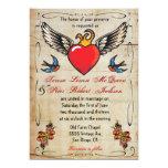 Flaming Winged Heart Tattoo Wedding Invitations
