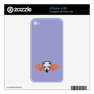 Flaming Wolf Decals For iPhone 4S