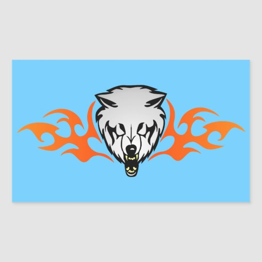 Flaming Wolf Rectangular Sticker