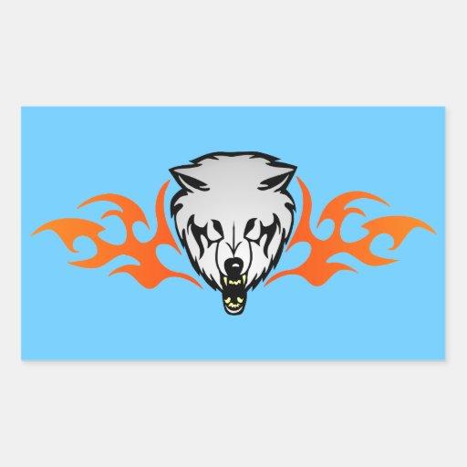 Flaming Wolf Rectangular Stickers