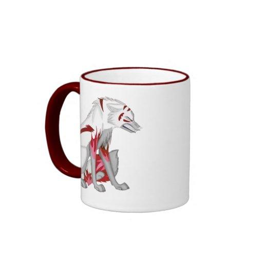 Flaming Wolf Ringer Coffee Mug
