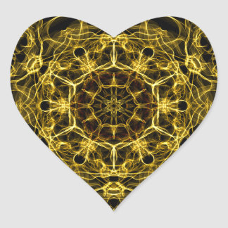 Flaming Yellow Sapphire Heart Sticker