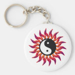 Flaming Yin Yang Sun Key Chain
