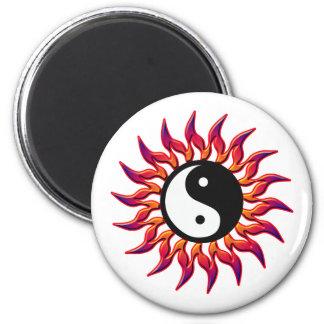 Flaming Yin Yang Sun Magnet