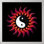 Flaming Yin Yang Sun Posters