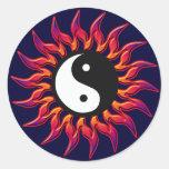 Flaming Yin Yang Sun Round Sticker