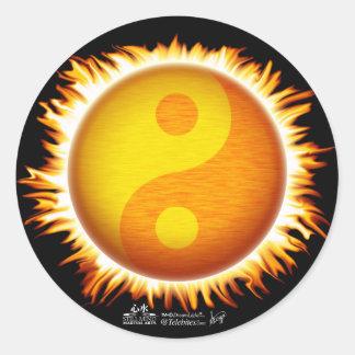 Flaming Yin Yang Sun Symbol Stickers