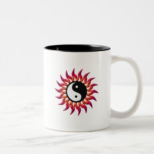 Flaming Yin Yang Sun Two-Tone Coffee Mug