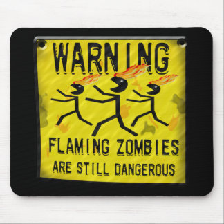 Flaming Zombies Warning Mousepad