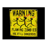 Flaming Zombies Warning Postcards