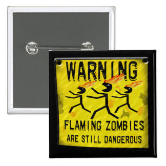 Flaming Zombies Warning Sign Buttons