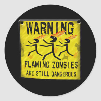 Flaming Zombies Warning Stickers