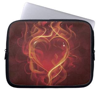 FlamingHeart fire dark red love flames heart shape Computer Sleeve