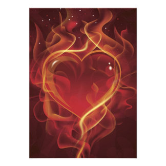 FlamingHeart fire dark red love flames heart shape Personalized Announcements