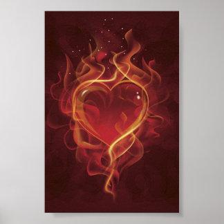 FlamingHeart fire dark red love flames heart shape Poster