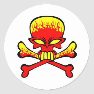 flamingl skull and crossbones  classic round sticker