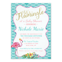 Pink and teal baby shower invitations announcements zazzle flamingle baby shower invitation teal pink gold filmwisefo