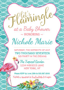 Pink and teal baby shower invitations announcements zazzle flamingle baby shower invitation teal pink gold filmwisefo Gallery