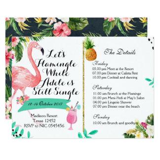 Flamingle Bachelorette Weekend Itinerary Invite