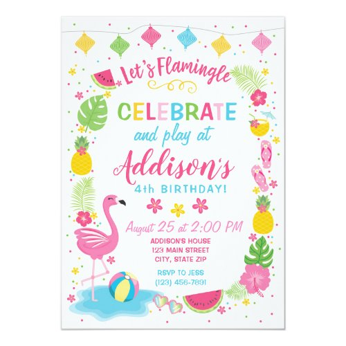 Flamingle Party Birthday Invitation