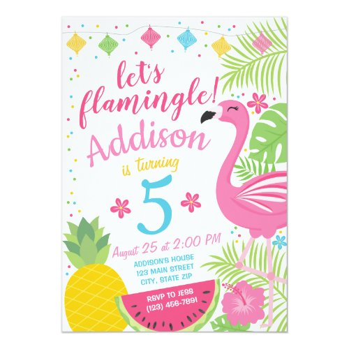 Flamingle Party Birthday Invitation Flamingo Pool