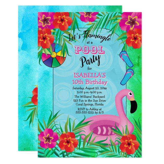 Pink Diamond And Zebra Print 10Th Birthday Party Personalised Invitations