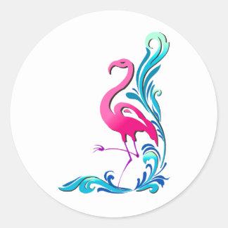 Flamingo 1 round stickers