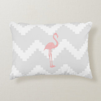 Flamingo - abstract geometric pattern - gray. accent pillow