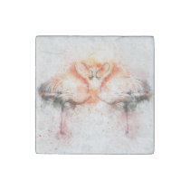 flamingo abstract stone magnet