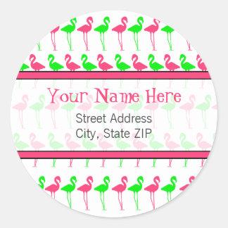 Flamingo Address Label Classic Round Sticker