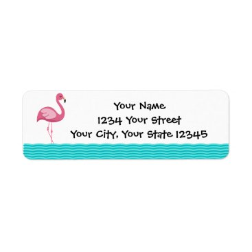 Beach Themed Flamingo Address Lable Label
