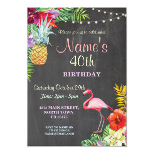 40th birthday party invitations announcements zazzle flamingo aloha 40th birthday party invite any age filmwisefo