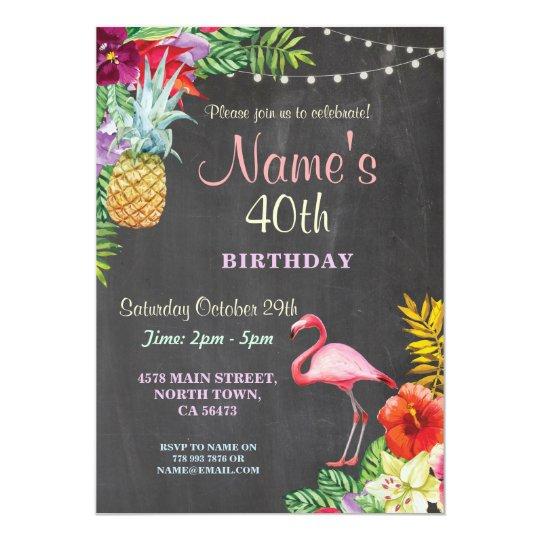 Flamingo Aloha 40th Birthday Party Invite Any Age
