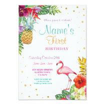 Flamingo Aloha Girl's First Birthday Gold Invitation