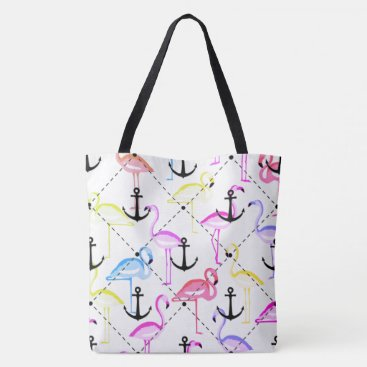 Beach Themed flamingo anchor customizable background tote